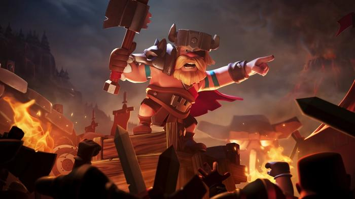 A warrior with an axe plundering a village in Clash of Clans