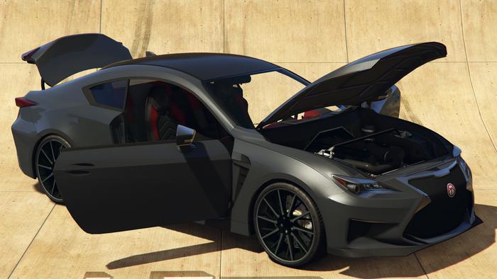 Screenshot from GTA Online showing the Emperor Vectre vehicle in dark grey with the doors, hood, and boot open.
