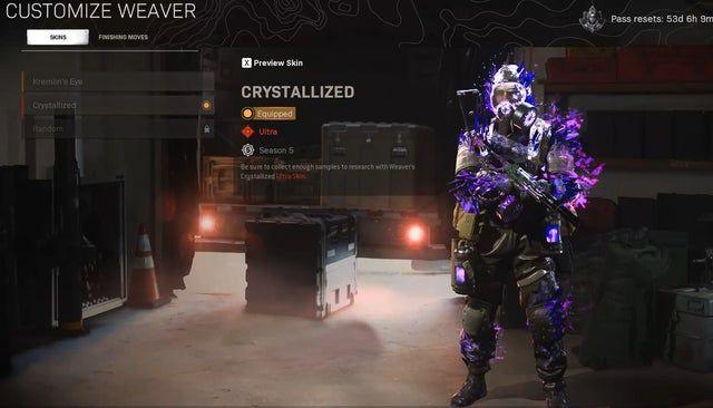 Weaver Operator Wearing Crystalized Operator Skin