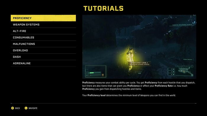 The tutorial menu in Returnal showing the description for the Proficiency attribute