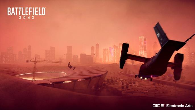Best AK-24 loadout for Battlefield 2042 - A plane flies at the Battlefield 2042 stadium.