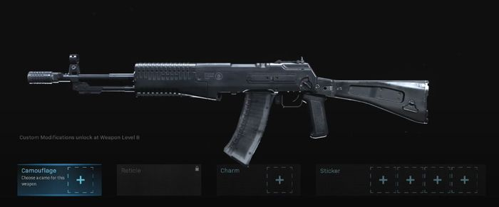 The An-94 examined in the Gunsmith menu of Call of Duty Warzone