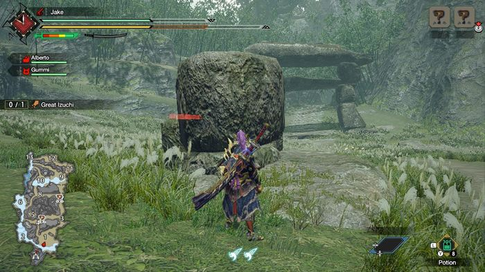 A character in Monster Hunter Rise stands next to a small rock, demonstrating different levels of climbing available to the player