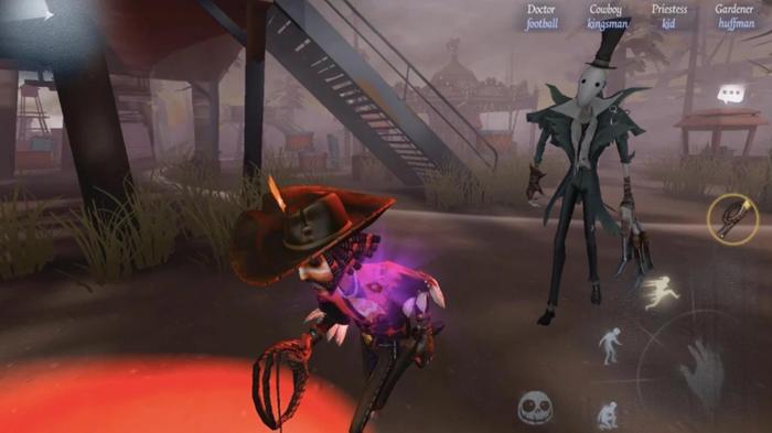 Screenshot from Identity V, showing a survivor running from a masked killer
