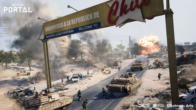 Battlefield 2042 tanks and soldiers fight under an arch.