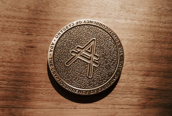 Image of Cardano/ADA coin on a brown, wooden background