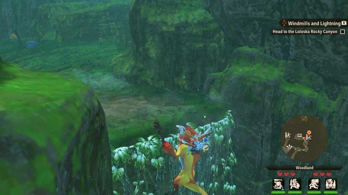 A Kecha Wacha Monstie climbing an Ivy Wall in Monster Hunter Stories 2.