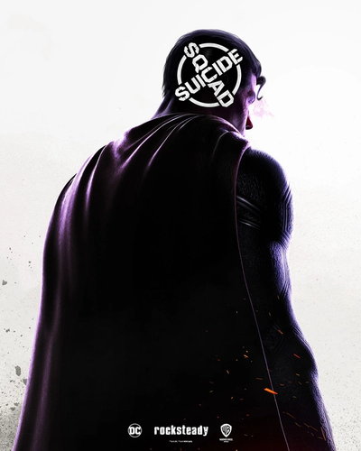 Superman on a poster for Suicide Squad: Kill The Justice League. Superman has his back to the screen and is looking back. Purple hue takes over his body and his laser eye's are also purple.