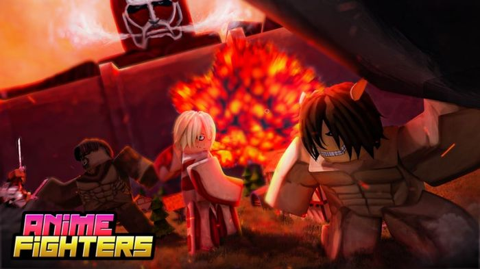 Anime characters fight in the foreground as an explosion is set off in the background and the colossal titan leans over the wall