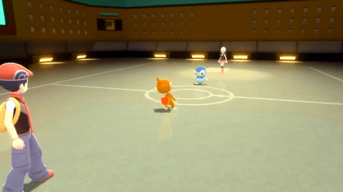 Image from Pokémon Brilliant Diamond and Shining Pearl showing a Pokémon battle taking place in the new Union Room.