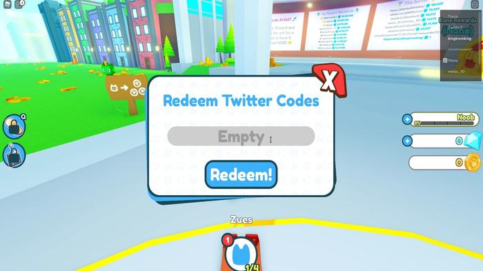 The Pet Simulator X code redemption screen in-game
