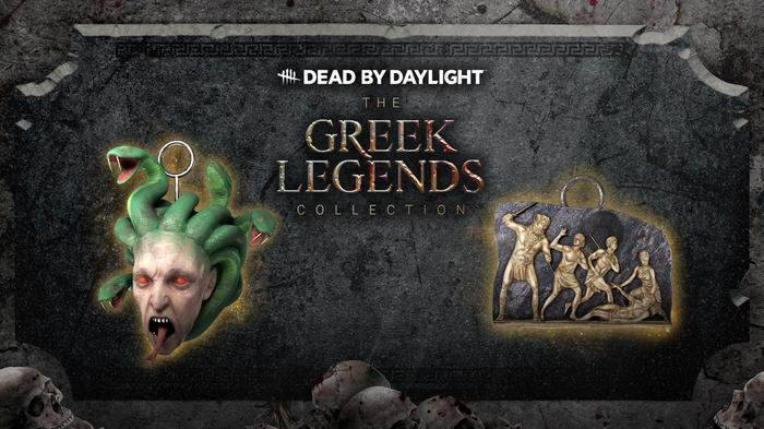 Dead by Daylight exclusive Greek Legends Collection charms: the Bas-Relief Sculpture, and Medusa Head.