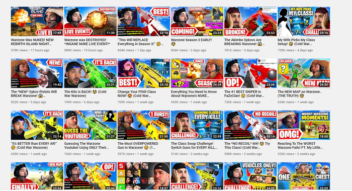 24 Nickmercs Video thumbnails are lined up in four rows. NickMercs is surprised in all but three of them.