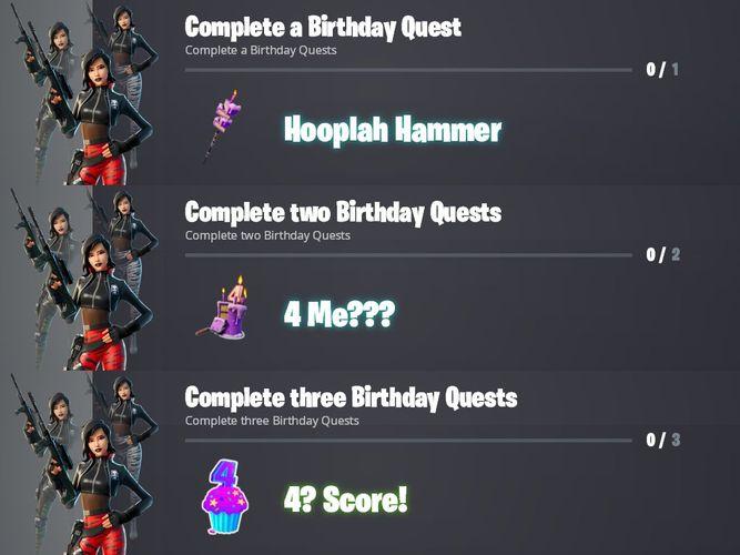Fortnite Birthday Challenge Rewards