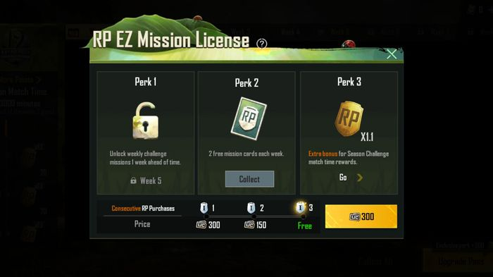 RP EZ Mission License purchase screen in PUBG Mobile.