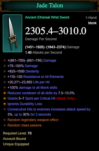 Diablo 3 Jade Talon Ethereal Weapon