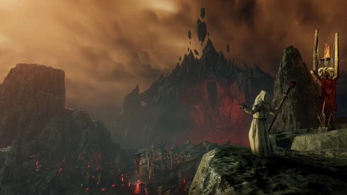 Cultist looking over a shattered mountain-scape