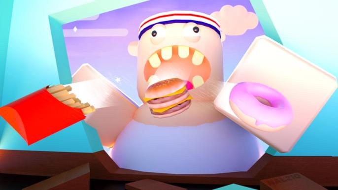 Roblox character eating fries and cake in Eating Simulator
