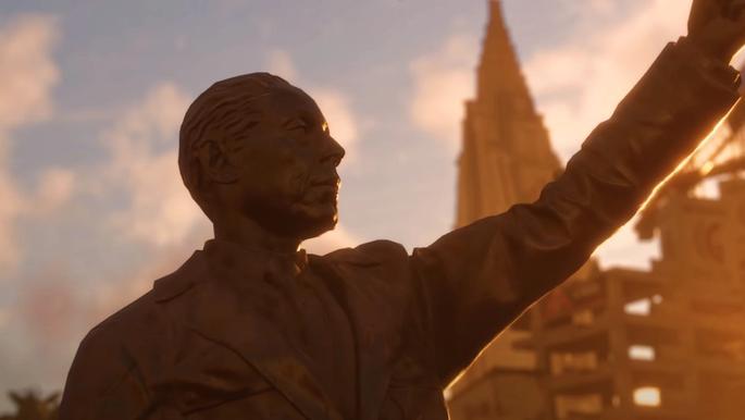 A statue of Far Cry 6's main villain, Anton Castillo.