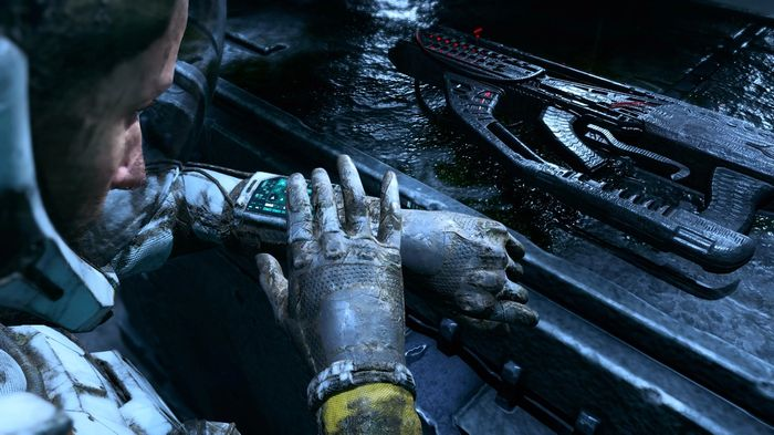 Selene takes a look at her suit system wrist monitor display in Returnal