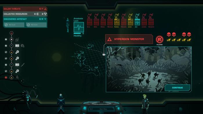 An overview of a mission screen in Crying Suns