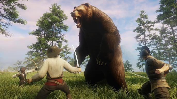 Three Adventurers fending off a giant brown bear