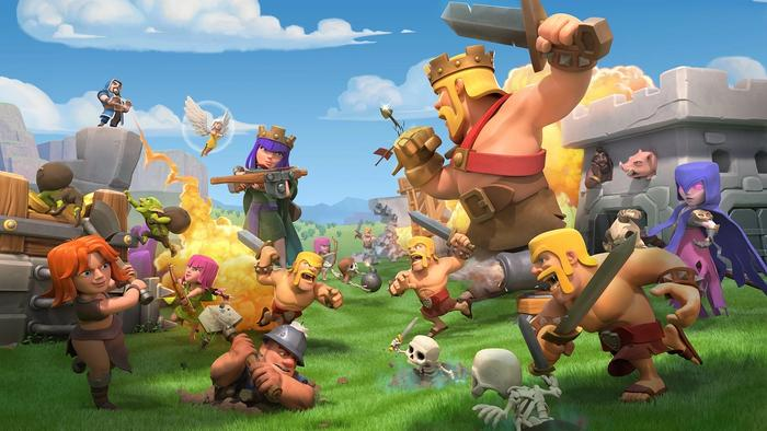 A promotional Clash of Clans banner showing a grand battle between the game's units.