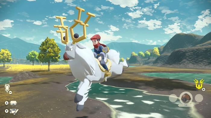 A Pokémon trainer rides a white stag called Wyrdeer as it jumps gracefully over a river.
