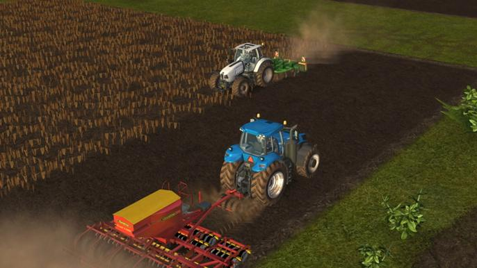 Screenshot from Farming Simulator, with two tractors ploughing fields