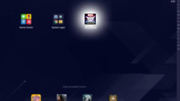 How Bluestacks looks with a Marvel Future Revolution PC install.