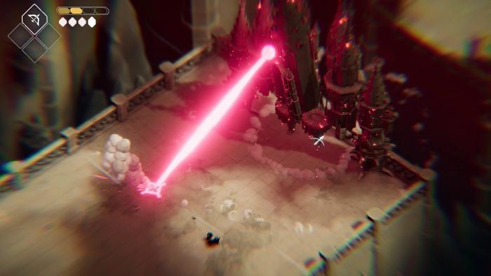 The Guardian of the Door uses a laser beam attack in Death's Door