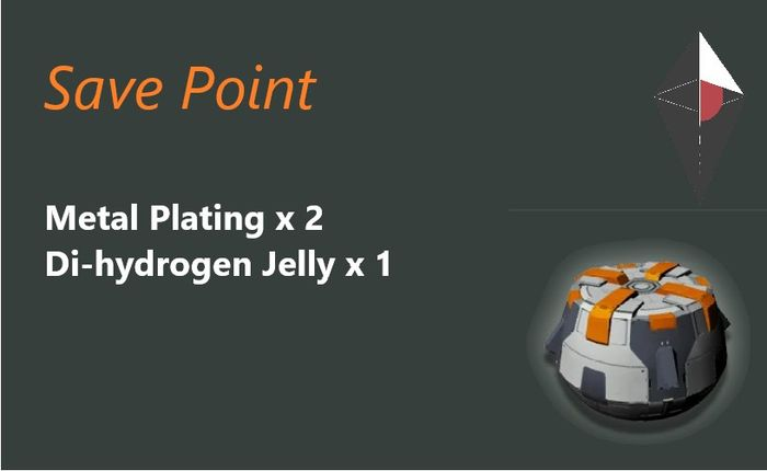 The save point in No Man's Sky, with the recipe detailed: Metal Plating x 2, Di-Hydrogen Jelly x1
