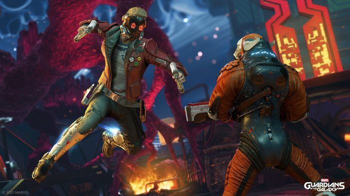 Guardians of the Galaxy Game Screenshot With Star Lord Punching Bad Guy