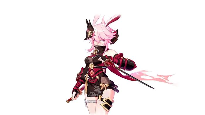 Honkai Impact character, Yae Sakura, in her Darkbolt Jonin battlesuit
