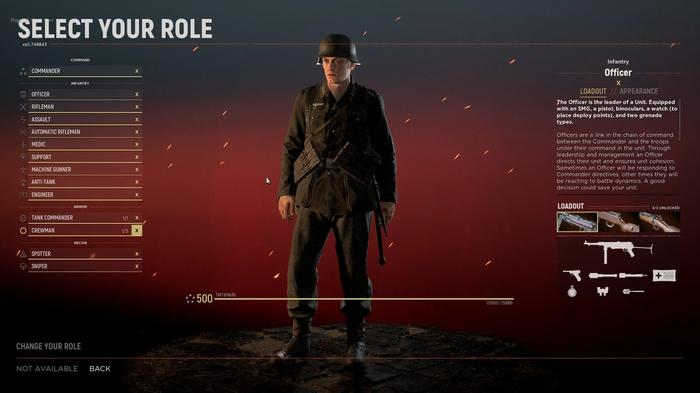 Screenshot from Hell Let Loose showing a character customisation screen for an Officer.