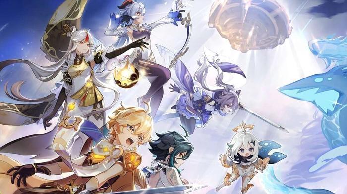 Genshin Impact characters, Xiao, Ganyu, Keqing, Ningguang, Traveler, and Paimon fighting Osial, overlord of the vortex