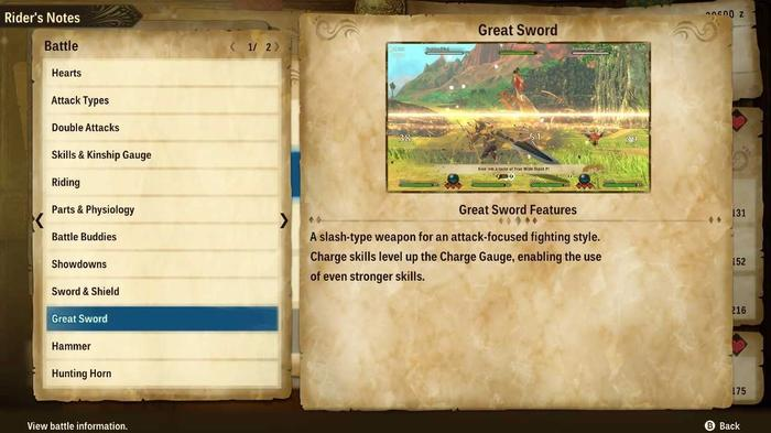 The Great Sword section in the Rider's Notes in Monster Hunter Stories 2