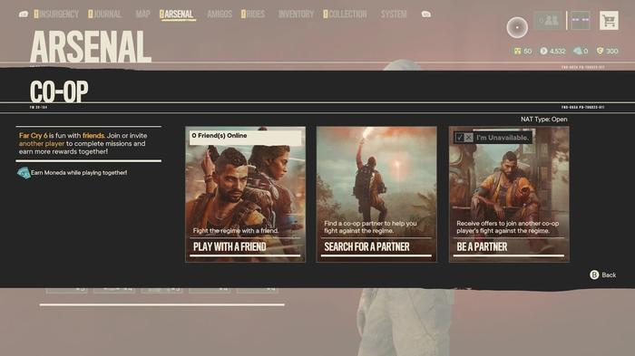 The menu of co-op information and options in Far Cry 6.