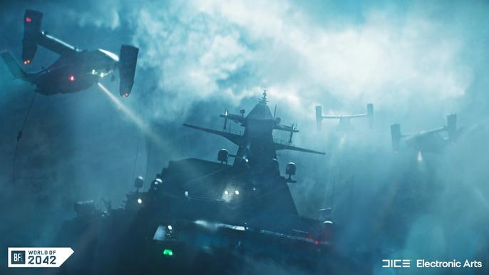 A plane shines a light on a ship in battlefield 2042
