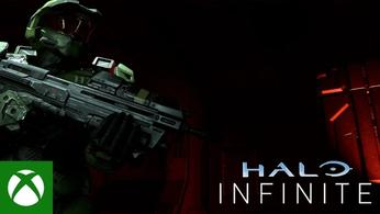 Master Chief lurks in the shadows with the Xbox and Halo Infinite logos in the corners.