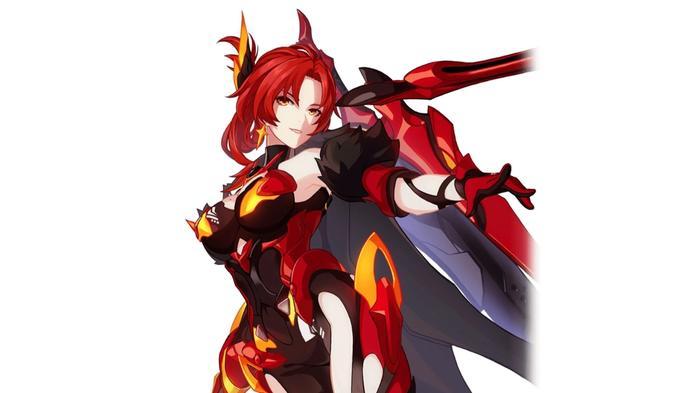 Honkai Impact character, Murata Himeko, in her Vermillion Knight: Eclipse battlesuit.