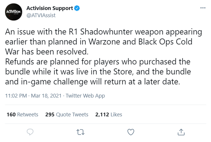 R1 Shadowhunter Crossbow Removed From Black Ops Cold War