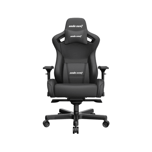 The AndaSeat Kaiser 2 is a big, black chair against a white background.