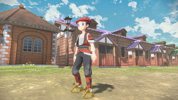 A trainer in Pokémon Legends: Arceus wearing the Growlithe Kimono set in a village.