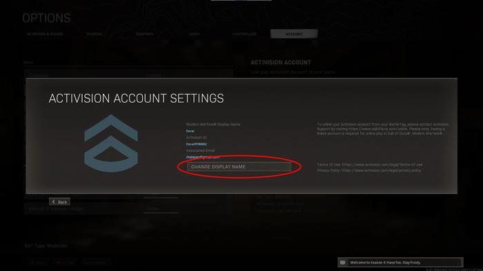 Warzone Activision Account Settings
