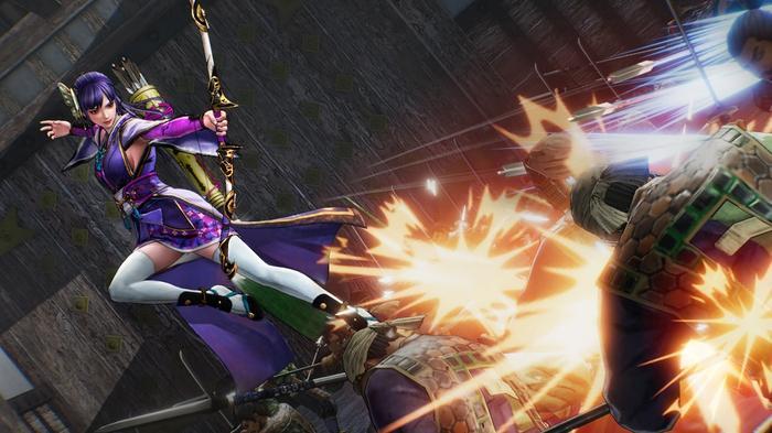 Samurai Warriors 5 screenshot showing an archer unleashing an arrow at an enemy.