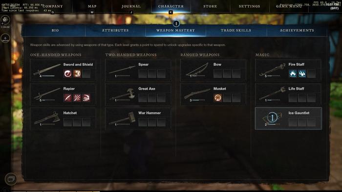 New World Weapon Mastery Menu
