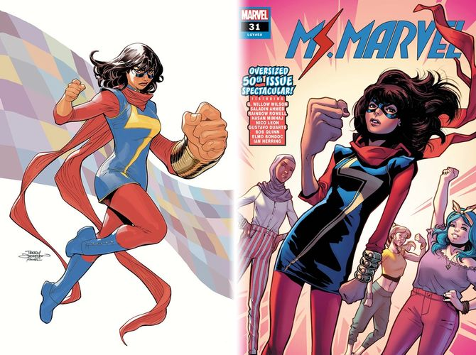 Two cover images for Ms. Marvel in the comics. Both have the outfit mentioned in the article.
