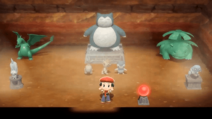 Image from Pokémon Brilliant Diamond and Shining Pearl showing a customised secret base with a series of Pokemon statues underground.