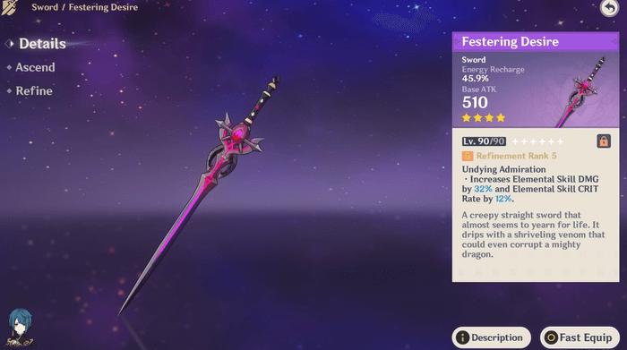 Genshin Impact Festering Desire Kazuha Weapon Guide